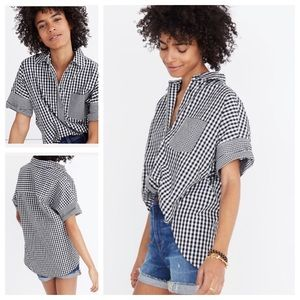 New Gingham-Play Button-Down Shirt sz M